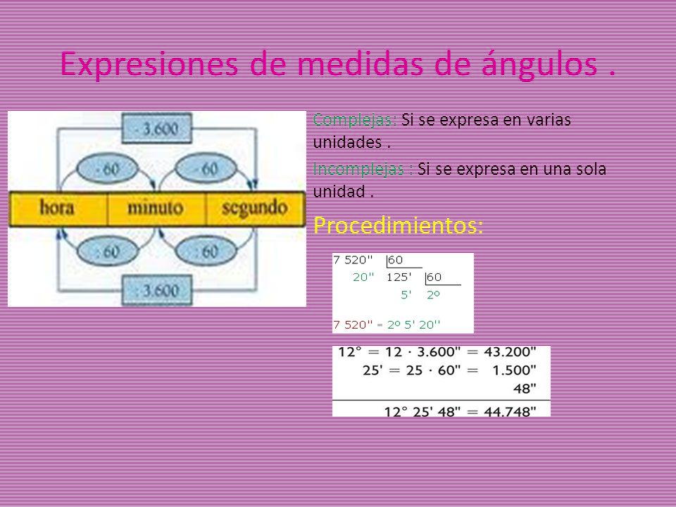 Complejas: Si se expresa en varias unidades. Incomplejas : Si se expresa en una sola unidad. Procedimientos: Expresiones de medidas de ángulos.