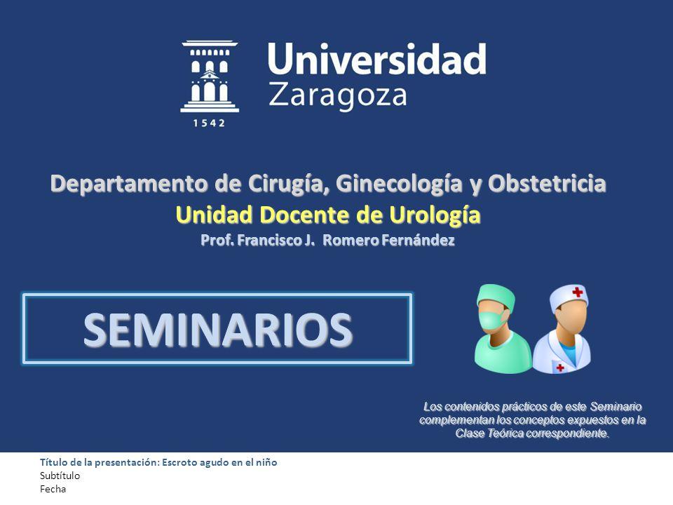 Departamento de Cirugía, Ginecología y Obstetricia Unidad Docente de Urología Prof. Francisco J. Romero Fernández Los contenidos prácticos de este Sem