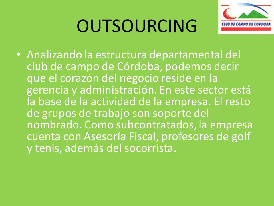OUTSOURCING Analizando la estructura departamental del club de campo de Córdoba, podemos decir que el corazón del negocio reside en la gerencia y administración.