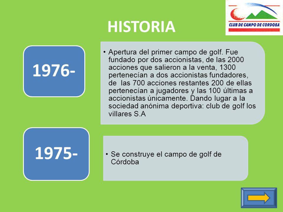 HISTORIA Apertura del primer campo de golf.