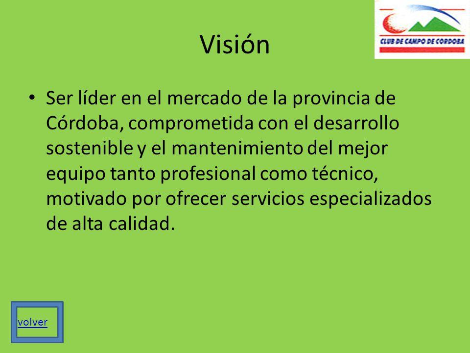 Visión Ser líder en el mercado de la provincia de Córdoba, comprometida con el desarrollo sostenible y el mantenimiento del mejor equipo tanto profesional como técnico, motivado por ofrecer servicios especializados de alta calidad.