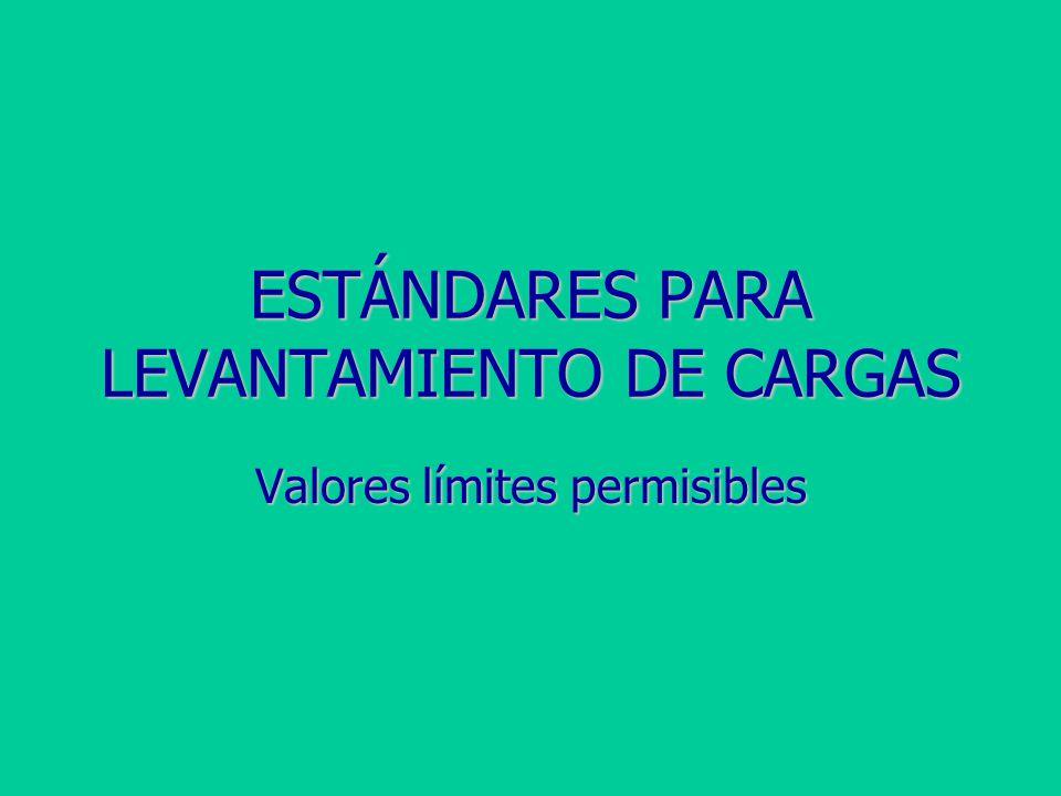 ESTÁNDARES PARA LEVANTAMIENTO DE CARGAS Valores límites permisibles