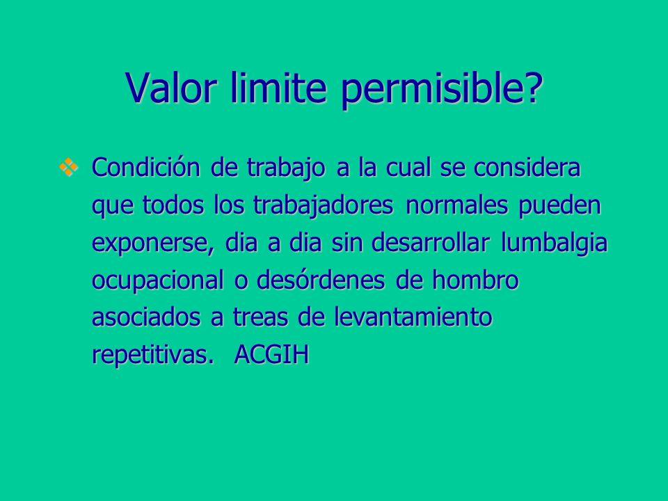 Valor limite permisible.