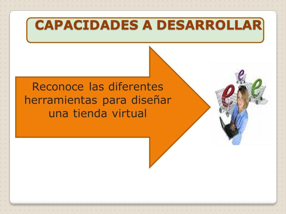 CAPACIDADES A DESARROLLAR CAPACIDADES A DESARROLLAR Reconoce las diferentes herramientas para diseñar una tienda virtual