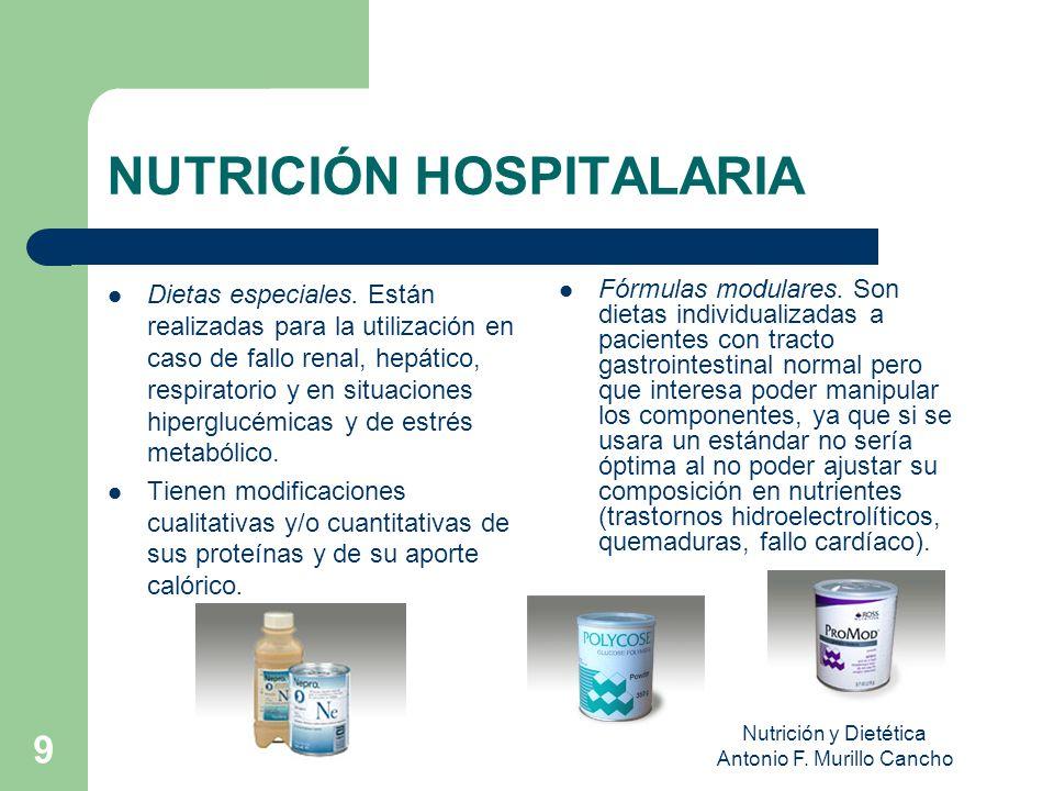 Nutrición y Dietética Antonio F.Murillo Cancho 9 NUTRICIÓN HOSPITALARIA Dietas especiales.
