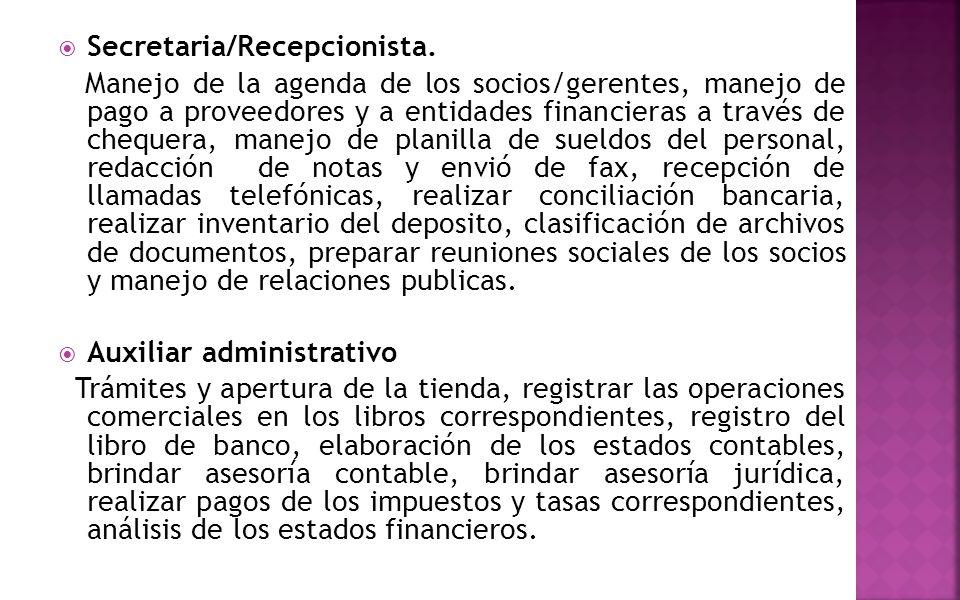  Secretaria/Recepcionista. Manejo de la agenda de los socios/gerentes, manejo de pago a proveedores y a entidades financieras a través de chequera, m