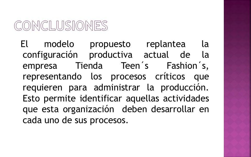El modelo propuesto replantea la configuración productiva actual de la empresa Tienda Teen´s Fashion´s, representando los procesos críticos que requie
