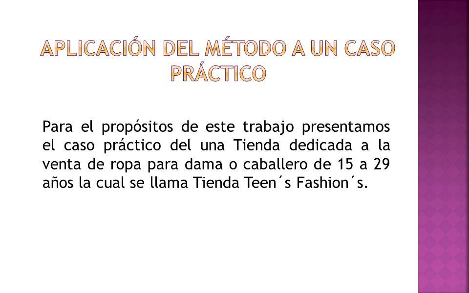 Para el propósitos de este trabajo presentamos el caso práctico del una Tienda dedicada a la venta de ropa para dama o caballero de 15 a 29 años la cu