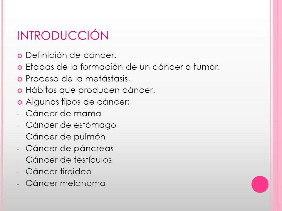 INTRODUCCIÓN Definición de cáncer.Etapas de la formación de un cáncer o tumor.