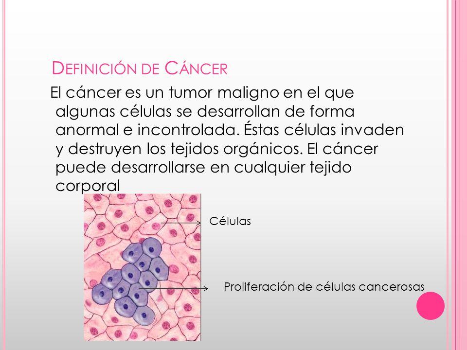 D EFINICIÓN DE C ÁNCER El cáncer es un tumor maligno en el que algunas células se desarrollan de forma anormal e incontrolada.