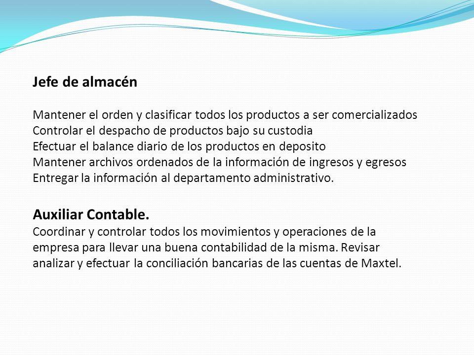 Jefe de almacén Mantener el orden y clasificar todos los productos a ser comercializados Controlar el despacho de productos bajo su custodia Efectuar