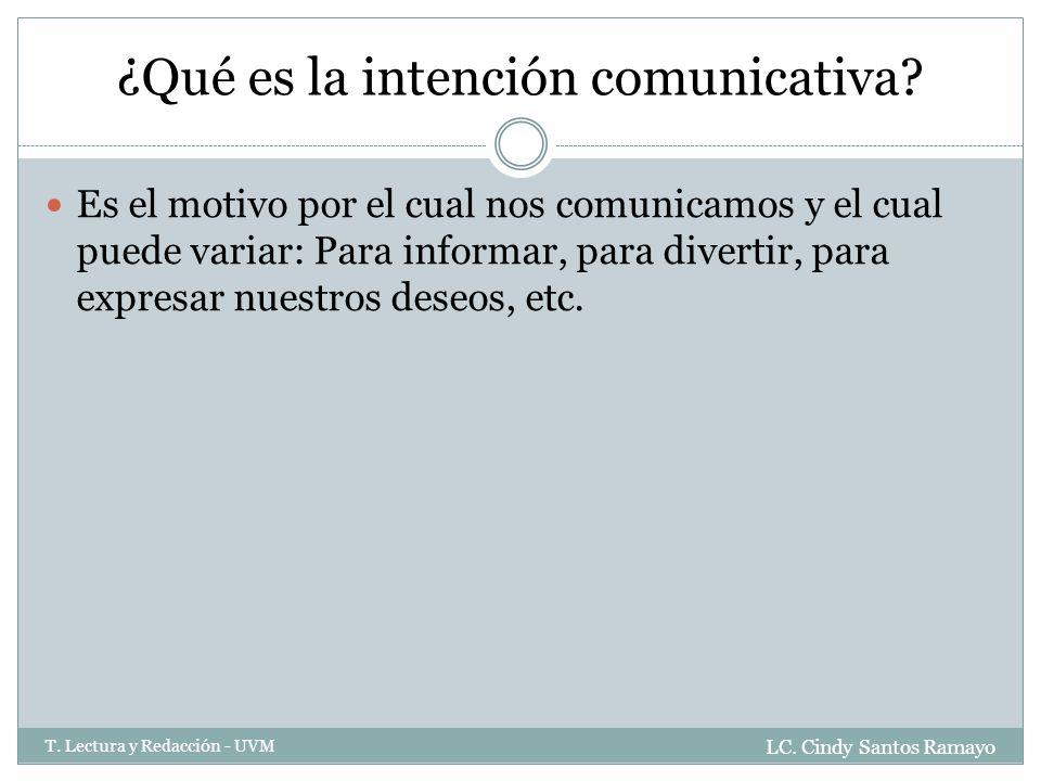 ¿Qué es la intención comunicativa.