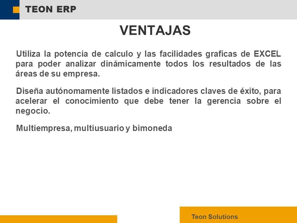  SAP AG 2003, mySAP ERP – Technology Facts, 7 TEON ERP Teon Solutions Utiliza la potencia de calculo y las facilidades graficas de EXCEL para poder analizar dinámicamente todos los resultados de las áreas de su empresa.