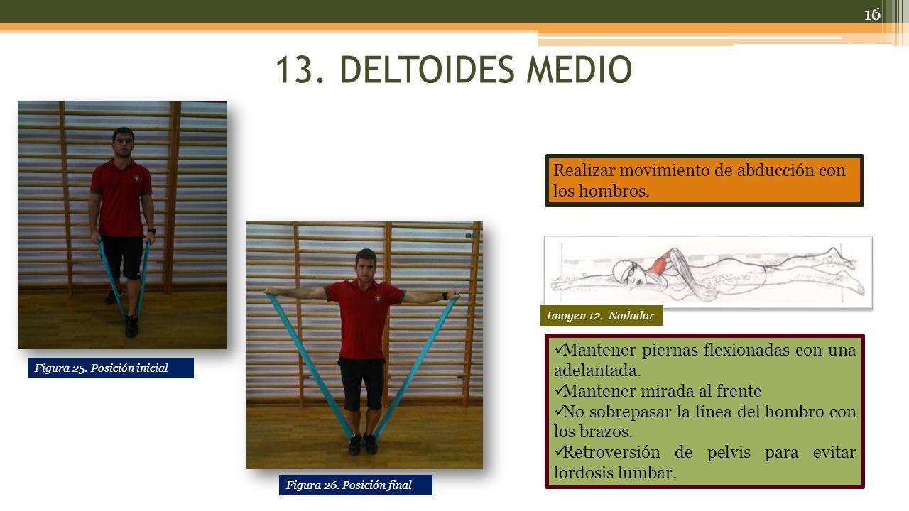 13.DELTOIDES MEDIO Realizar movimiento de abducción con los hombros.