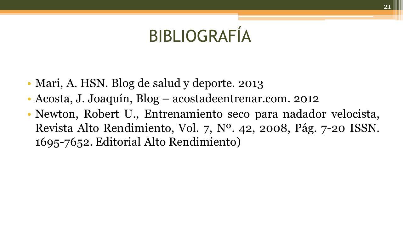 BIBLIOGRAFÍA Mari, A.HSN. Blog de salud y deporte.