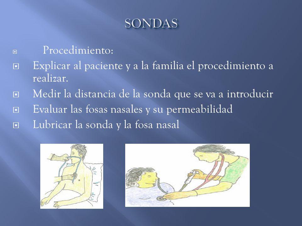 Procedimiento:  Explicar al paciente y a la familia el procedimiento a realizar.  Medir la distancia de la sonda que se va a introducir  Evaluar