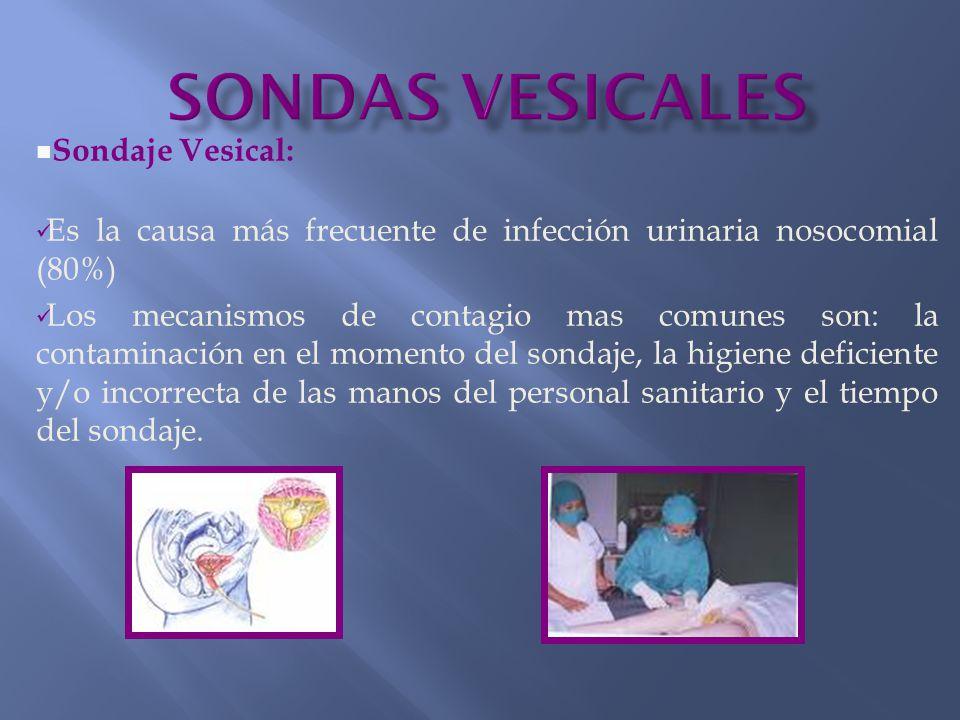 Sondaje Vesical: Es la causa más frecuente de infección urinaria nosocomial (80%) Los mecanismos de contagio mas comunes son: la contaminación en el momento del sondaje, la higiene deficiente y/o incorrecta de las manos del personal sanitario y el tiempo del sondaje.