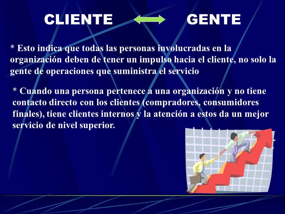 CLIENTEGENTE * Esto indica que todas las personas involucradas en la organización deben de tener un impulso hacia el cliente, no solo la gente de oper