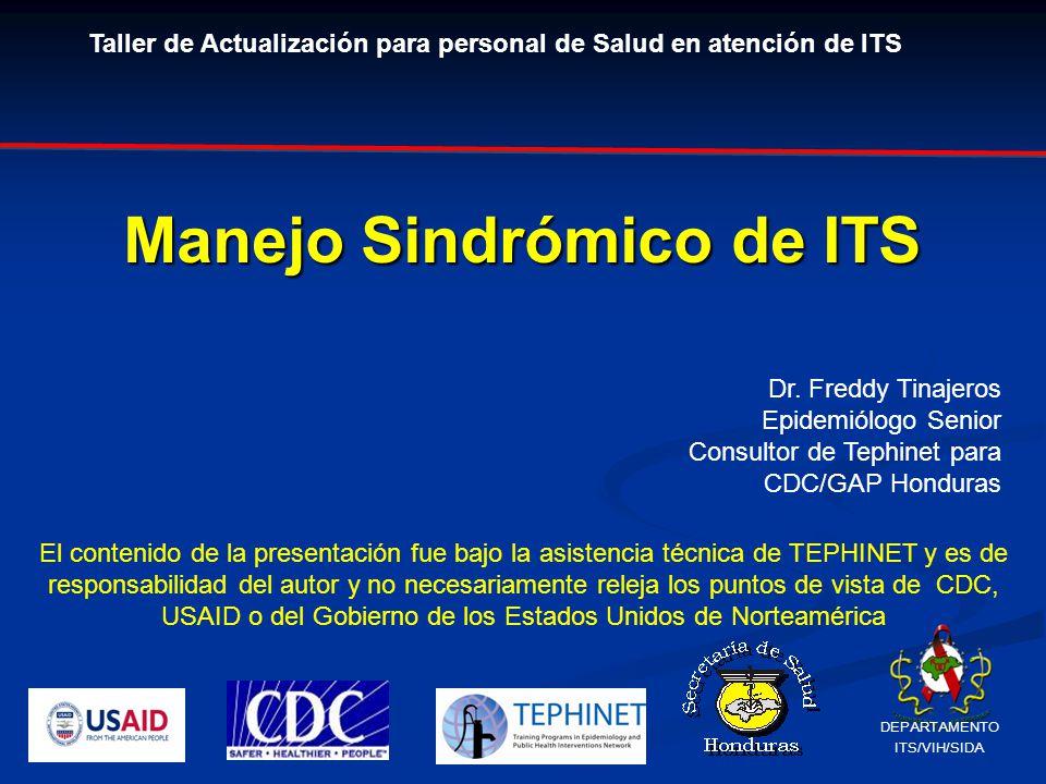 Manejo Sindrómico de ITS El contenido de la presentación fue bajo la asistencia técnica de TEPHINET y es de responsabilidad del autor y no necesariamente releja los puntos de vista de CDC, USAID o del Gobierno de los Estados Unidos de Norteamérica Dr.