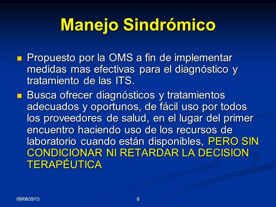 8 Manejo Sindrómico Propuesto por la OMS a fin de implementar medidas mas efectivas para el diagnóstico y tratamiento de las ITS.