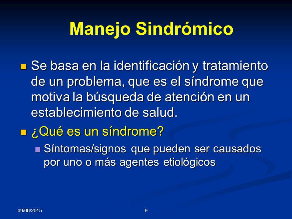 9 Se basa en la identificación y tratamiento de un problema, que es el síndrome que motiva la búsqueda de atención en un establecimiento de salud.