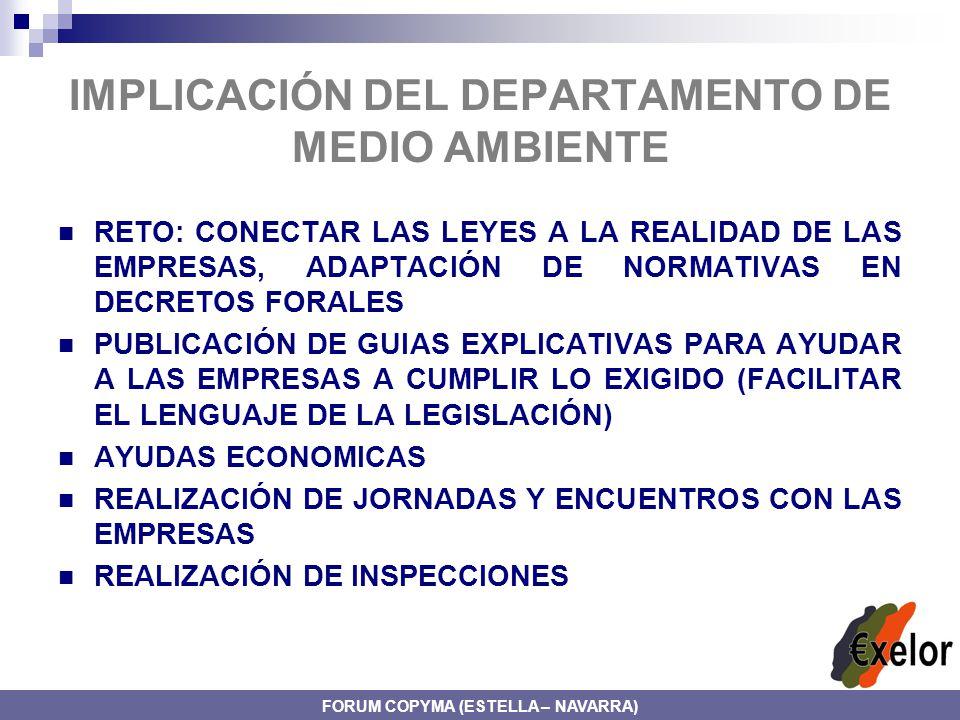 IMPLICACIÓN DEL DEPARTAMENTO DE MEDIO AMBIENTE RETO: CONECTAR LAS LEYES A LA REALIDAD DE LAS EMPRESAS, ADAPTACIÓN DE NORMATIVAS EN DECRETOS FORALES PUBLICACIÓN DE GUIAS EXPLICATIVAS PARA AYUDAR A LAS EMPRESAS A CUMPLIR LO EXIGIDO (FACILITAR EL LENGUAJE DE LA LEGISLACIÓN) AYUDAS ECONOMICAS REALIZACIÓN DE JORNADAS Y ENCUENTROS CON LAS EMPRESAS REALIZACIÓN DE INSPECCIONES FORUM COPYMA (ESTELLA – NAVARRA)
