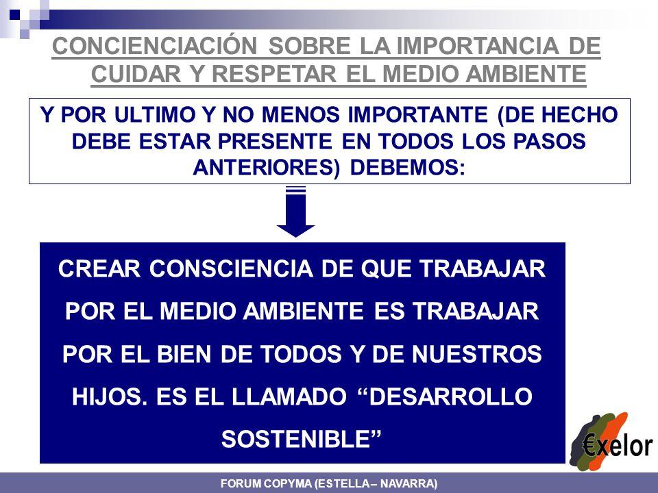 CONCIENCIACIÓN SOBRE LA IMPORTANCIA DE CUIDAR Y RESPETAR EL MEDIO AMBIENTE Y POR ULTIMO Y NO MENOS IMPORTANTE (DE HECHO DEBE ESTAR PRESENTE EN TODOS LOS PASOS ANTERIORES) DEBEMOS: CREAR CONSCIENCIA DE QUE TRABAJAR POR EL MEDIO AMBIENTE ES TRABAJAR POR EL BIEN DE TODOS Y DE NUESTROS HIJOS.