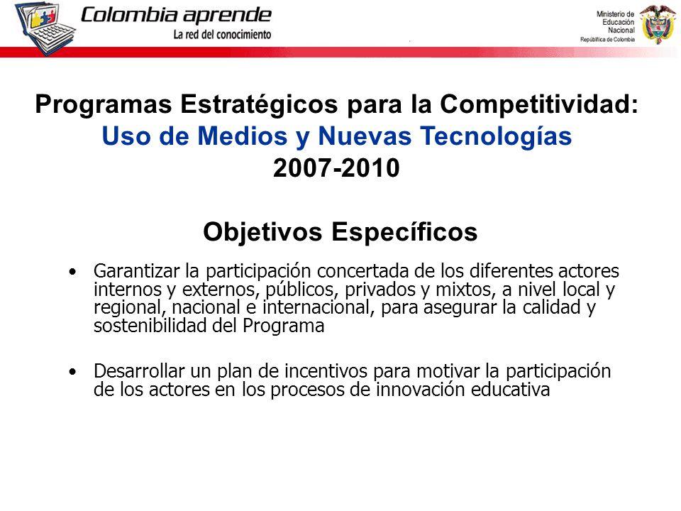 Ministerio de Educación Nacional República de Colombia Garantizar la participación concertada de los diferentes actores internos y externos, públicos, privados y mixtos, a nivel local y regional, nacional e internacional, para asegurar la calidad y sostenibilidad del Programa Desarrollar un plan de incentivos para motivar la participación de los actores en los procesos de innovación educativa Programas Estratégicos para la Competitividad: Uso de Medios y Nuevas Tecnologías 2007-2010 Objetivos Específicos