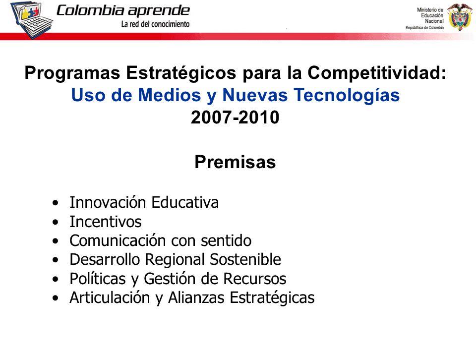 Ministerio de Educación Nacional República de Colombia Innovación Educativa Incentivos Comunicación con sentido Desarrollo Regional Sostenible Políticas y Gestión de Recursos Articulación y Alianzas Estratégicas Programas Estratégicos para la Competitividad: Uso de Medios y Nuevas Tecnologías 2007-2010 Premisas