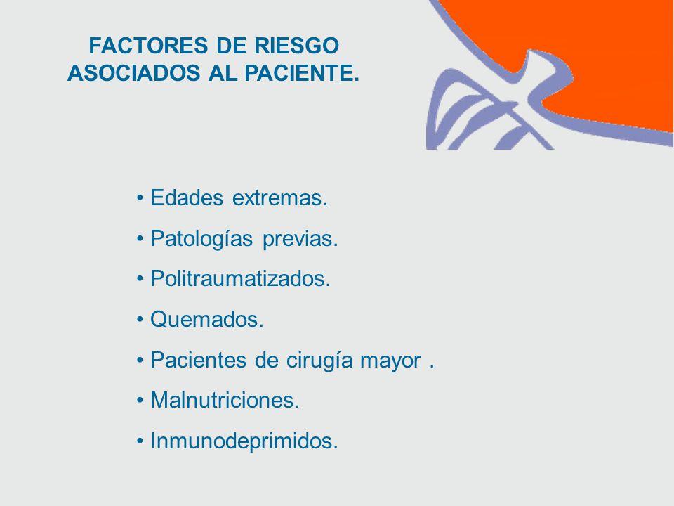 FACTORES DE RIESGO ASOCIADOS AL PACIENTE. Edades extremas.