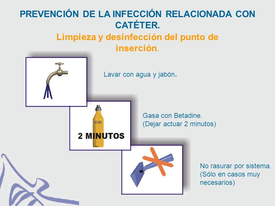 Limpieza y desinfección del punto de inserción. PREVENCIÓN DE LA INFECCIÓN RELACIONADA CON CATÉTER.