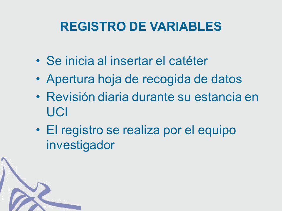 Se inicia al insertar el catéter Apertura hoja de recogida de datos Revisión diaria durante su estancia en UCI El registro se realiza por el equipo investigador REGISTRO DE VARIABLES