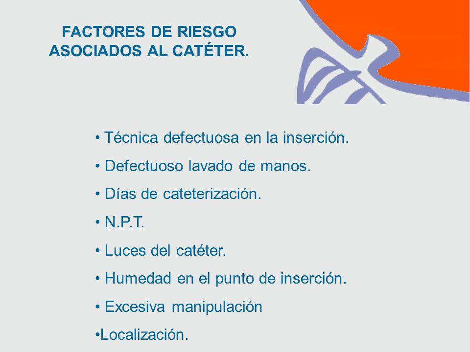 FACTORES DE RIESGO ASOCIADOS AL CATÉTER. Técnica defectuosa en la inserción.