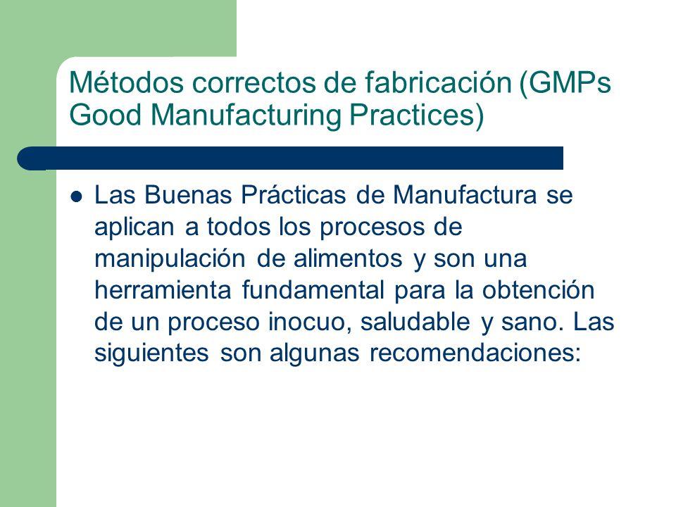 Métodos correctos de fabricación (GMPs Good Manufacturing Practices) Las Buenas Prácticas de Manufactura se aplican a todos los procesos de manipulaci