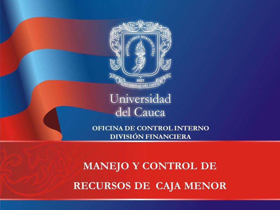 MANEJO Y CONTROL DE RECURSOS DE CAJA MENOR OFICINA DE CONTROL INTERNO DIVISIÓN FINANCIERA