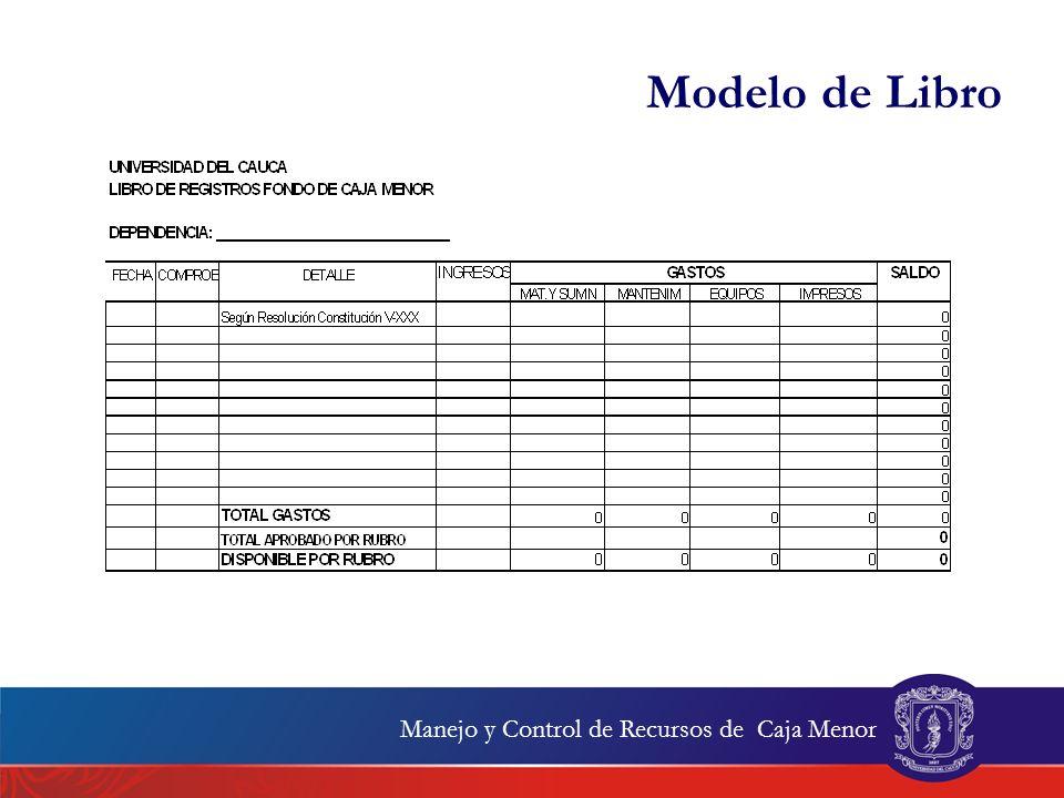 Modelo de Libro Manejo y Control de Recursos de Caja Menor