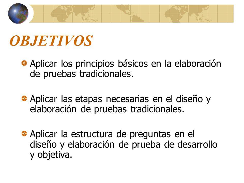 OBJETIVOS Aplicar los principios básicos en la elaboración de pruebas tradicionales.