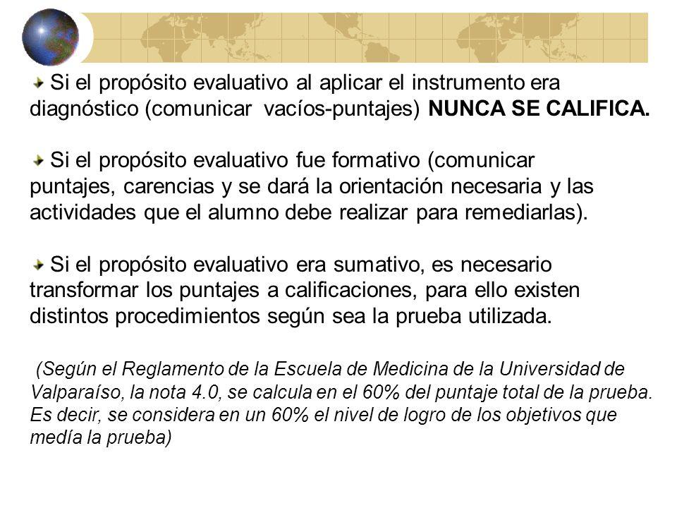 Si el propósito evaluativo al aplicar el instrumento era diagnóstico (comunicar vacíos-puntajes) NUNCA SE CALIFICA.