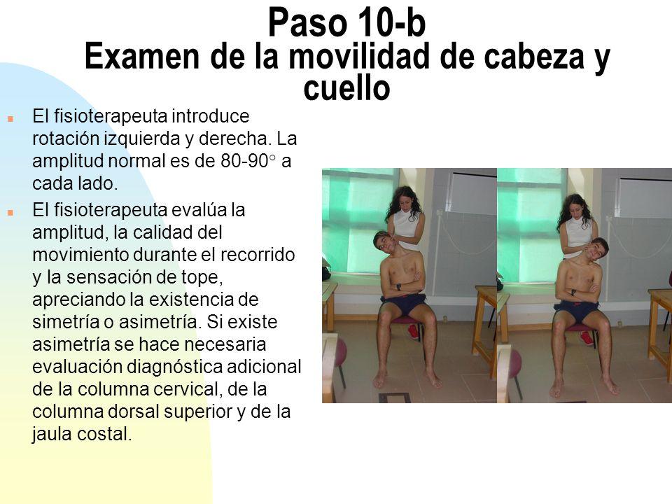 Paso 10-b Examen de la movilidad de cabeza y cuello n El fisioterapeuta introduce rotación izquierda y derecha.