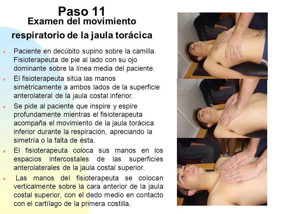 Paso 11 Examen del movimiento respiratorio de la jaula torácica n Paciente en decúbito supino sobre la camilla. Fisioterapeuta de pie al lado con su o