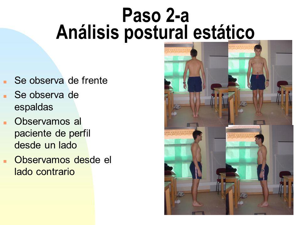 Paso 2-a Análisis postural estático n Se observa de frente n Se observa de espaldas n Observamos al paciente de perfil desde un lado n Observamos desde el lado contrario