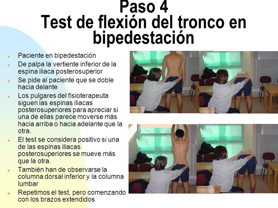 Paso 5 Test de la cigüeña n Con el paciente de pie y el fisioterapeuta sentado detrás, el pulgar izquierdo del operador se coloca en la parte más posterior de la espina iliaca posterosuperior izquierda, y el pulgar derecho sobre la línea media del sacro a la misma altura.