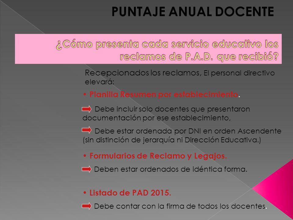 PUNTAJE ANUAL DOCENTE Recepcionados los reclamos, El personal directivo elevará: Planilla Resumen por establecimiento.