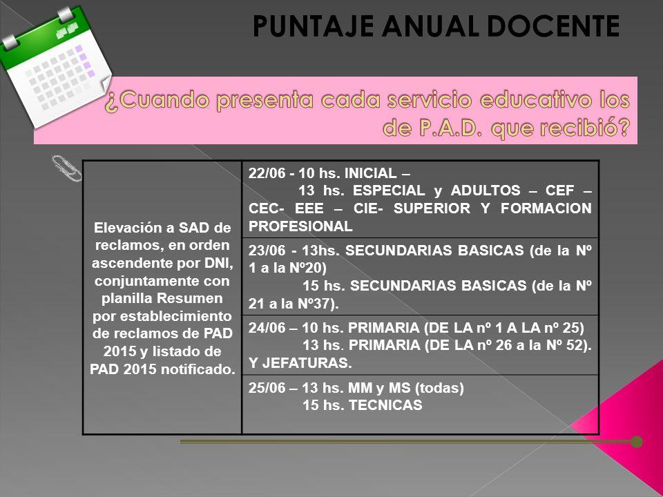 Elevación a SAD de reclamos, en orden ascendente por DNI, conjuntamente con planilla Resumen por establecimiento de reclamos de PAD 2015 y listado de PAD 2015 notificado.