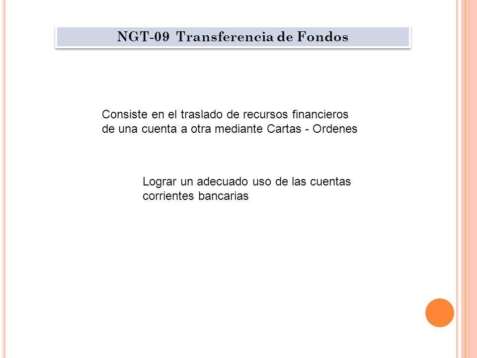 NGT-09 Transferencia de Fondos Consiste en el traslado de recursos financieros de una cuenta a otra mediante Cartas - Ordenes Lograr un adecuado uso de las cuentas corrientes bancarias