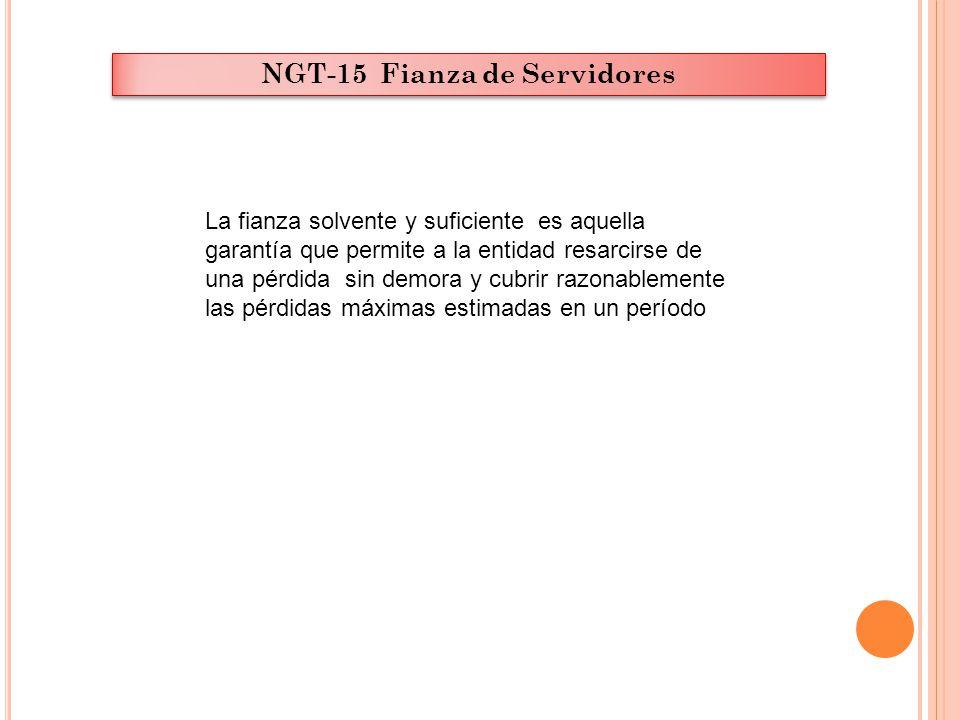 NGT-15 Fianza de Servidores La fianza solvente y suficiente es aquella garantía que permite a la entidad resarcirse de una pérdida sin demora y cubrir