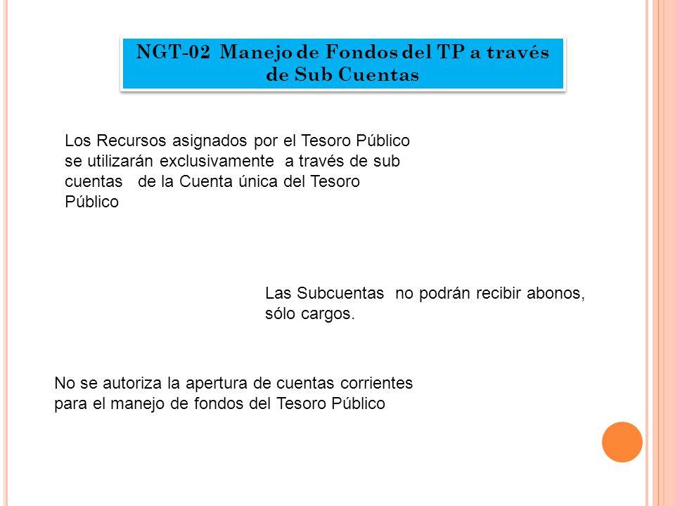 NGT-02 Manejo de Fondos del TP a través de Sub Cuentas Los Recursos asignados por el Tesoro Público se utilizarán exclusivamente a través de sub cuentas de la Cuenta única del Tesoro Público Las Subcuentas no podrán recibir abonos, sólo cargos.