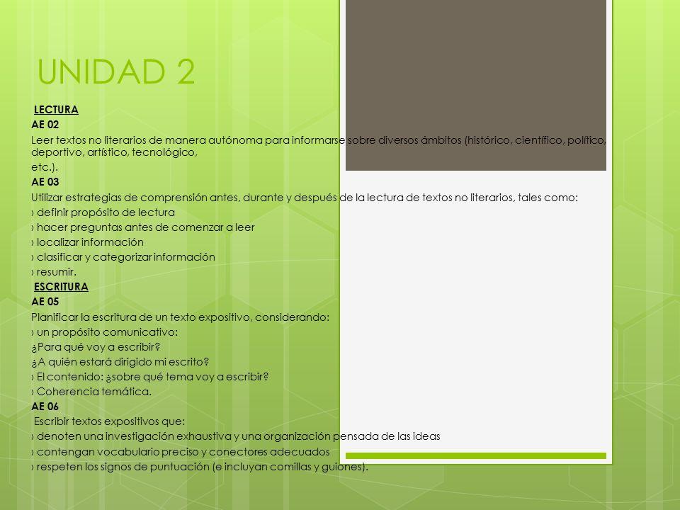 UNIDAD 2 LECTURA AE 02 Leer textos no literarios de manera autónoma para informarse sobre diversos ámbitos (histórico, científico, político, deportivo, artístico, tecnológico, etc.).