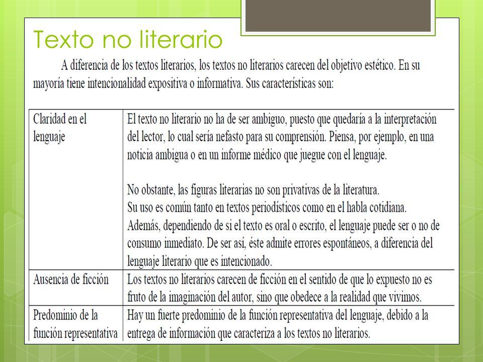 Texto no literario FUENTE MINEDUC