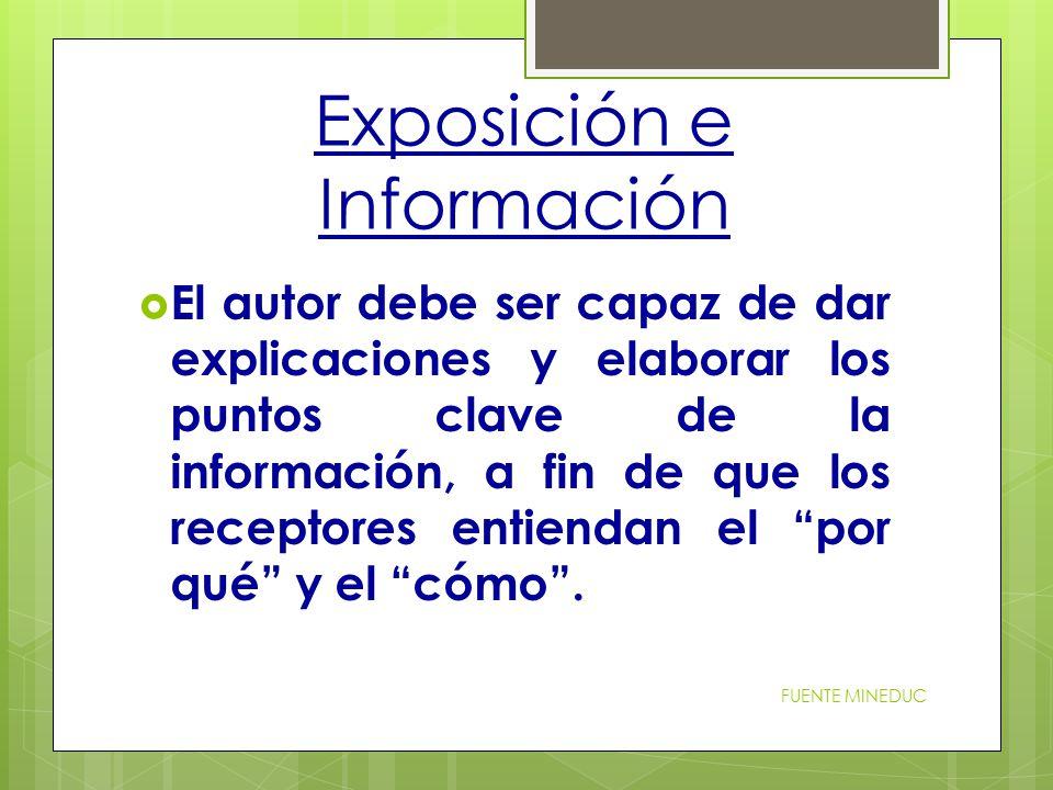 Exposición e Información  El autor debe ser capaz de dar explicaciones y elaborar los puntos clave de la información, a fin de que los receptores entiendan el por qué y el cómo .